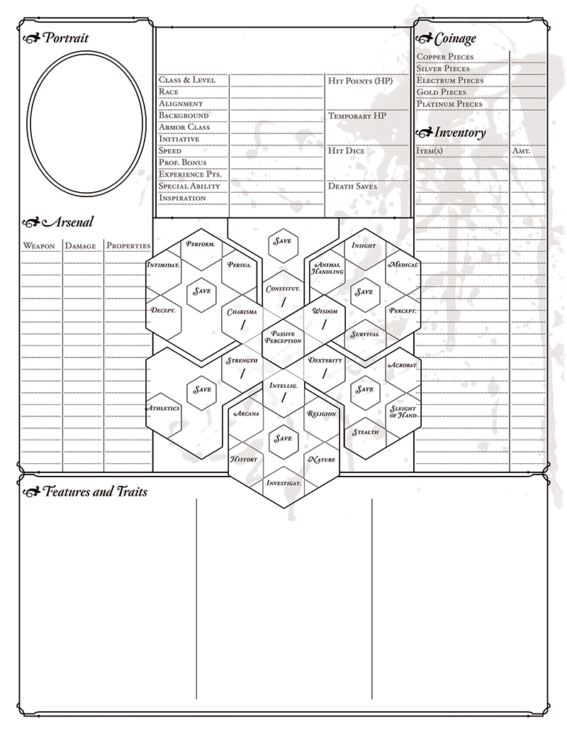 Bitterhusks Dungeons and Dragons, 5th Edition Character Sheet, unruled PDF, page 1