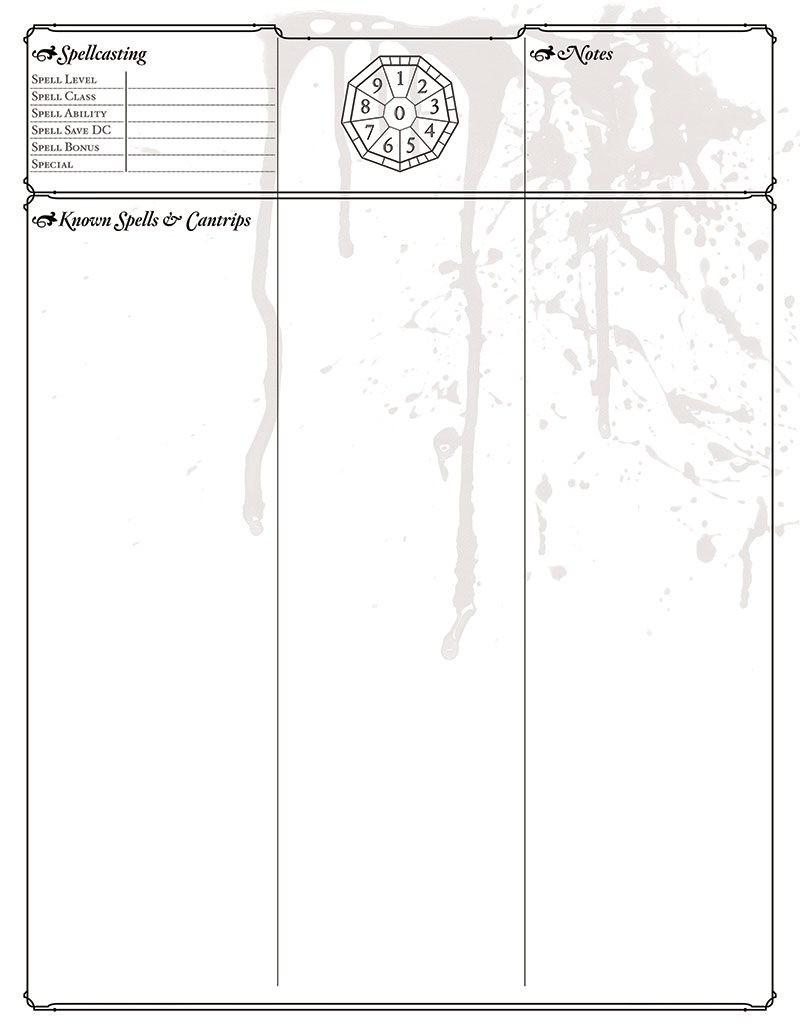 Bitterhusks Dungeons and Dragons, 5th Edition Character Sheet, runruled PDF, page 2